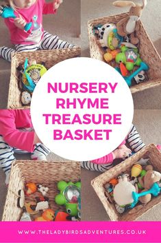 Nursery rhyme treasure basket, a fun and engaging activity for older babies and toddlers. Filled with ideas and inspiration for nursery rhymes and props to include.