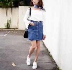 off shoulder denim skirt