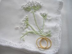 Hand Embroidered Keepsake Handkerchief   Queen Anne's Lace known for its delicate flower that resembles white lace.