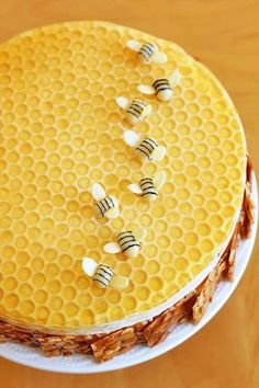 Sponge-cake with sliced honey-toasted almond-squares around the side - decorated on top with eatable bees . MR ~use bubble wrap for top decoration Bee Cakes, Cupcake Cakes, Gorgeous Cakes, Amazing Cakes, Honey Cake, Mousse Cake, Fancy Cakes, Creative Cakes, Cakes And More