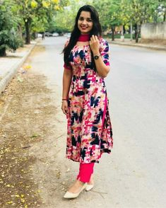 What a Girl Chudidhar Designs, Kids Blouse Designs, Kurta Designs Women, Kurti Neck Designs, Salwar Designs, Dress Indian Style, Indian Dresses, Indian Designer Outfits, Designer Dresses