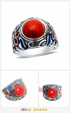 #dalec22 50% OFF #Ebay http://stores.ebay.com/JEWELRY-AND-GIFTS-BY-ALICE-AND-ANN  Red Coral ring 10 carats size 6 steel USA Seller