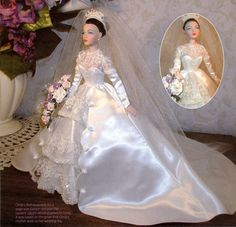 Gene Marshall doll, wearing extremely fine custom wedding dress made by Cindy Friesen, and modeled after her mother's wedding gown Barbie Bridal, Barbie Wedding Dress, Wedding Doll, Barbie Gowns, Custom Wedding Dress, Barbie Dress, Barbie Clothes, Bridal Dresses, Wedding Gowns