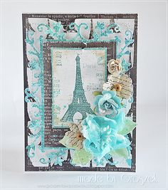 Made by Groszek: Bonjour! Paris Cards, Shabby Chic Cards, Cardmaking And Papercraft, Handmade Tags, Craft Show Ideas, Paris Theme, Stamping Up Cards, Paper Artist, Graphic 45