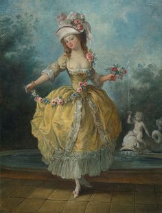 Jean-Frédéric Schall (1752 - 1825) - A young lady holding a garland of flowers.