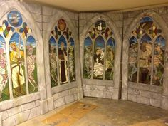 amazing foam carved 'stained glass' windows from Halloween Forum member.