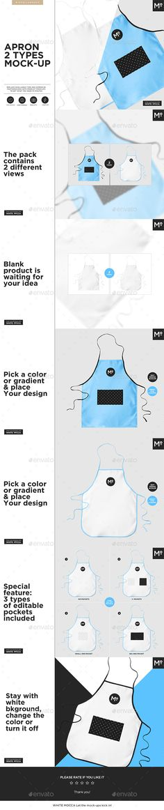 Apron 2 Types #Mock-up - Miscellaneous #Product Mock-Ups Download here:  https://graphicriver.net/item/apron-2-types-mockup/20331611?ref=alena994