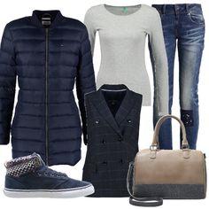 Lana e cotone sono i protagonisti di questa proposta che vede un paio di jeans skinny abbinati ad una maglia basic da indossare sotto una giacca a quadri smanicata e a un caldo piumino. Le scarpe sono delle sneakers in tela e lana, mentre la borsa in similpelle ha degli inserti in colore diverso in lana,