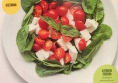 Ensalada de Mozzarella, Tomates Cherry y Espinaca