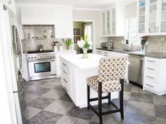 Picture of Great Diagonal Kitchen Black and White Ceramics Floor Style and White Island Storage