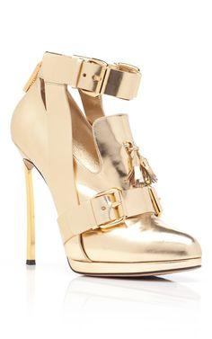Gold High Heel Oxford by Prabal Gurung