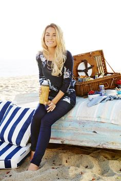 Lauren Conrad wearing an LC Lauren Conrad for Kohl's Floral Print Sweater