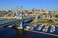 View of Ben Franklin Bridge with Philadelphia in the background