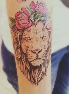 Majestic lion tattoo, realistic but still artistic.