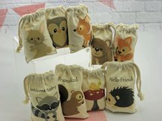 woodland animal baby shower ideas | Muslin Bags Forest Woodland Animals Favor Baby Shower or Birthday Bags ...