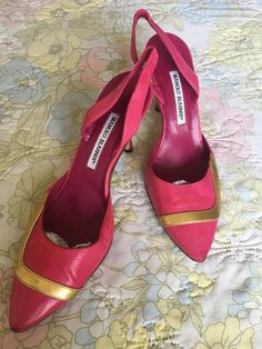 Vintage 1990s Pink Manolo Blahnik Leather Stiletto Slingbacks With Gold Leather Accents