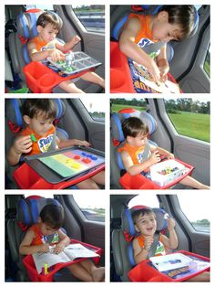 Here are 6 activities for a 2.5 year old to do in the car... 1. Play-doh, hammer, golf tees and muffin tin. 2. Make your own sticker book. 3. Magnetic letter sort on cookie sheet. 4. Play with toy cars. 5. Color with markers. 6. String buttons onto pipe cleaners. We also watched movies, listened to books on tape, read books, listened to music, used aqua doodle, etch-a-sketch and did a cool foam puzzle that you build shapes with. All to name a few.