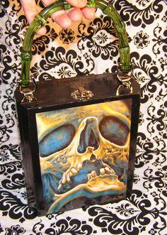Skull cigar box purse hand made by Secretia Noxious   http://www.etsy.com/shop/NOXIOUSPUNX