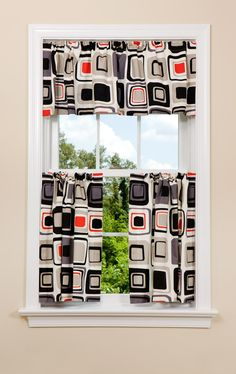 Red and Grey Kitchen New Geometric Kitchen Curtain In Red Grey and Black Mid Century Modern Curtains, Mid Century Modern Furniture, Contemporary Curtains, Contemporary Furniture, Cafe Style, Red And Grey, Black, Kitchen Curtains, Drapes Curtains