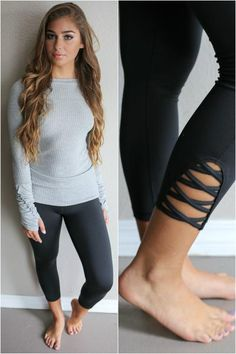 Black active wear leggins with criss cross pattern on sides.   Material is…
