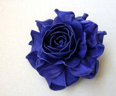 Blue Leather Rose Flower Brooch