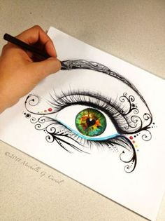 Drawing Eyes Eyes are beautiful - Michelle Curiel is an artist who lives in Hollywood, CA. She is a lady of many talents but I greatly enjoy her colorful sketchbook illustrations. It seems as if it is a way for her to vent and rela… Amazing Drawings, Cool Drawings, Amazing Art, Pencil Drawings, Beautiful Drawings, Cool Drawing Designs, Creative Drawing Ideas, Inspiration Art, Eye Art