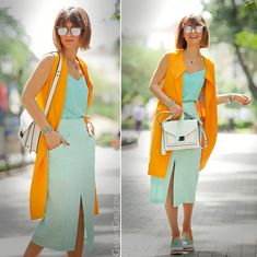 Tangerine and mint combo.