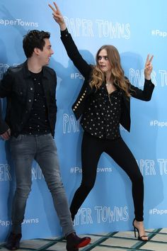 Cara Delevingne with 'Paper Towns' co-star Nat Wolff at the London photocall.