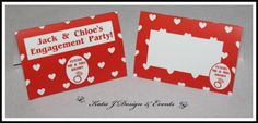 Place Cards #Red #White #Hearts #Engagement #Party #Colour #Schemes #Bunting #Party #Decorations #Ideas #Banners #Cupcakes #WallDisplay #PopTop #JuiceLabels #PartyBags #Invites #KatieJDesignAndEvents #Personalised #Creative