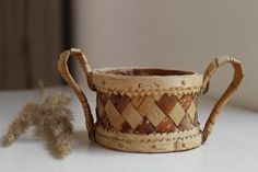 Vintage Scandinavian Birch Bark Bowl, Small Hand Made Serving Bowl with 2 Handles