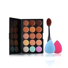 Pure Vie Pro 1 Pcs Oval Make Up Brushes  2 Sponge Puff  15 Colors Cream Concealer Camouflage Makeup Palette Contouring Kit for Salon and Daily Use ** Find out more about the great product at the image link.