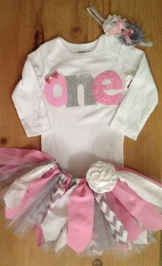 Pink White and Silver 1st Birthday Tutu Outfit by ScrapHappyTutus