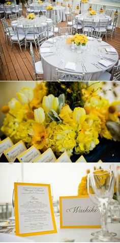 Love this look: silver chiavari chairs, white table clothes, yellow flowers yellow wedding ideas Why This Nontraditional Engagement Ring Is Perfect For Any Bride Yellow Grey Weddings, Yellow Wedding Flowers, Yellow Flowers, Wedding Colors, Yellow Centerpieces, Wedding Centerpieces, Wedding Table, Wedding Decorations, Wedding Themes