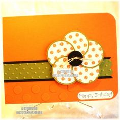 birthday card ideas | Uses circle punches to make the flower - Two Happy Stampers