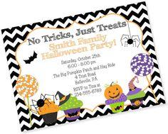 Halloween Party Invitation_no tricks just by MyPaperGardenLLC, $1.10