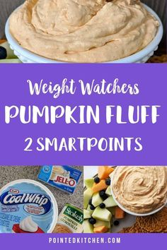This 5 ingredient Pumpkin Fluff is so easy to make and is just 2 SmartPoints per 1/2 cup on Weight Watchers Freestyle plan Weight Watchers Fluff Recipe, Weight Watchers Pumpkin, Weight Watchers Snacks, Weight Watchers Breakfast, Wheat Free Recipes, Ww Recipes, Low Calorie Recipes, Light Recipes, Healthy Recipes