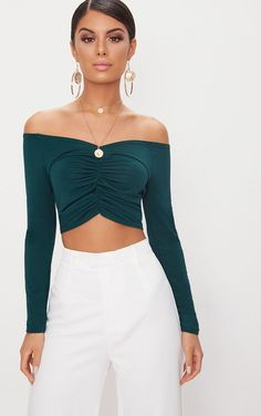 87adbe74bd Emerald Green Slinky Ruched Front Long Sleeve Crop Top