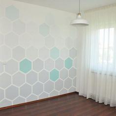 DIY hexagon mintás ombre fal