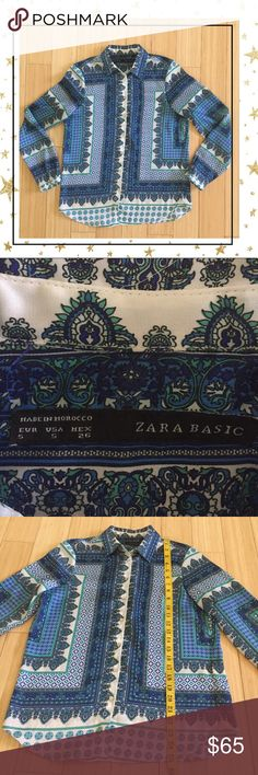 Zara Blue Button Down Blouse Beautiful silky  blouse . Worn once. Excellent condition Zara Tops Button Down Shirts