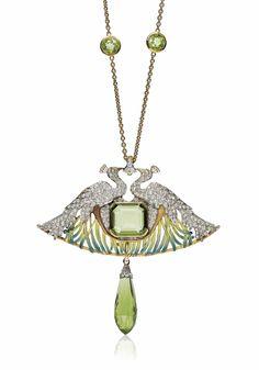AN ART NOUVEAU PERIDOT, DIAMOND, ENAMEL AND GLASS PENDENT NECKLACE, BY RENÉ LALIQUE | Jewelry, pendant | Christie's
