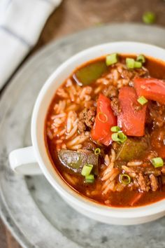 This stuffed pepper soup in the crockpot is so easy, and really delicious. I've been known to add some ground Italian sausage to it. It's also great for the 21 Day Fix! Container counts included.