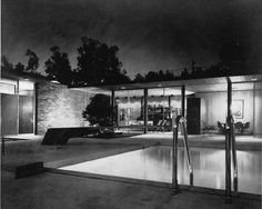 """Case Study House #17B / Hoffman House / Craig Ellwood / 1956 / 9554 Hidden Valley Road, Beverly Hills / remodeled beyond recognition in 1962 by John Elgin Woolf """"To attempt the transformation of the Case Study House No. 17 into a Greek temple with a Hollywood Regency street façade requires the most profound disregard of traditional notions of architectural integrity."""""""