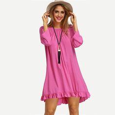 Sheinside Ladies Ruffle Backless Dresses Casual 2016 New Summer Crew Neck Long Sleeve Rose Red Flounce Hem Fringe Backless Dress - free shipping worldwide