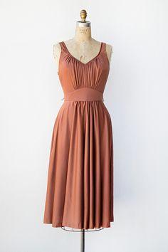 vintage 1970s copper gathered bodice sundress, beautiful, want.