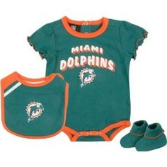 Miami Dolphins Baby  girl Apparel | miami dolphins girls team color creeper bib booties 0 3 month baby ...