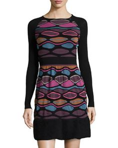 T9AGS M Missoni Printed Fit & Flare Sweaterdress, Black/Multicolor