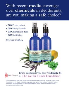 What's in your deodorant? Get those chemicals out and off of your body with NYR Organics! Natural Deodorant, Organic Beauty, Organic Skin Care, Natural Skin Care, Touch Foundation, Neals Yard Remedies, Organic Essential Oils, Lavender Oil