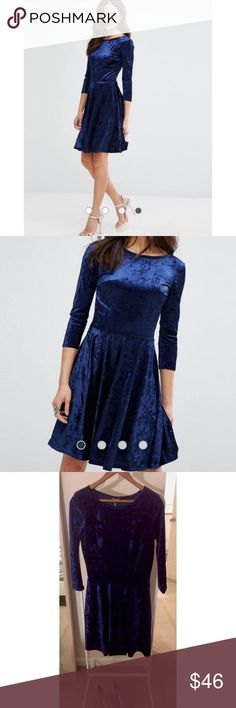 NWT Crushed Velvet Navy 3/4 Sleeve Skater Dress Perfect for the holidays!! This new with tags Club L dress from ASOS is in a stunning deep shade of navy. The crushed velvet is a really fun 90s throwback. This is a U.S. Size 8 and a U.K. Size 12. I have a larger chest, and even though this dress has some stretch, it wasn't enough for mine, so this could fit a chesty size 4-6 or a normal size 8. This size is sold out online! ASOS Dresses Long Sleeve