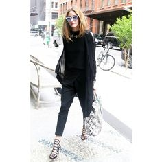How Our Favorite Celebs Wear All Black in the Summer via Polyvore