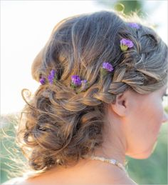 If you have uncertainty about rocking a statement floral crown you can tuck small flowers into your braided wedding up do for a similar look. Beach Wedding Hair, Wedding Hair Flowers, Beach Hair, Wedding Hair And Makeup, Flowers In Hair, Small Flowers, Chic Wedding, Wedding Ideas, Purple Flowers